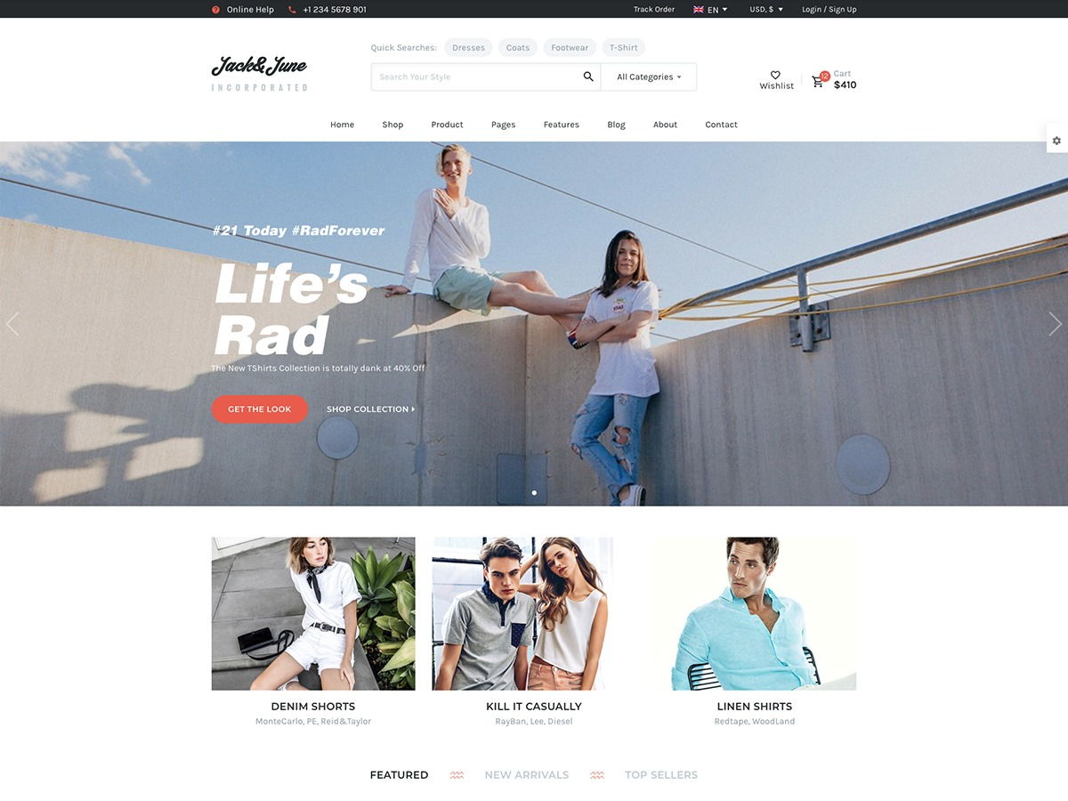 June Child Theme WordPress page template