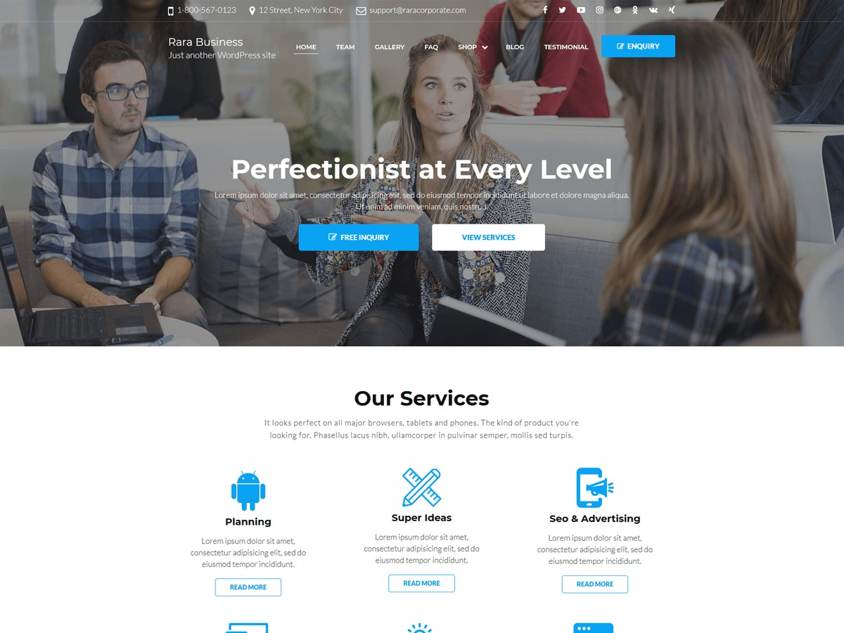 Rara Business WordPress restaurant theme