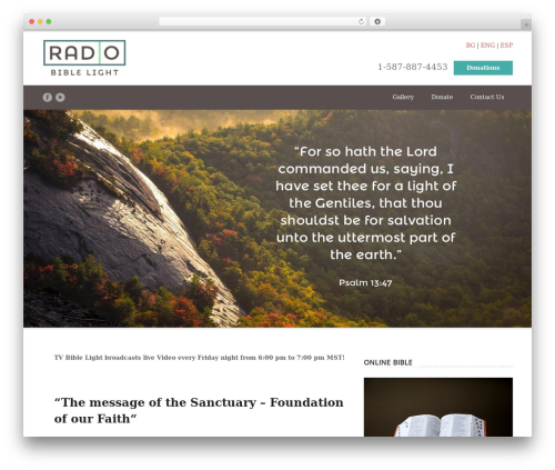 Spiritual WordPress theme - radiobiblelight.com