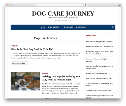Tribune WordPress template - dogcarejourney.com