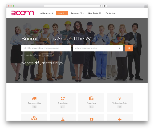 WorkScout WordPress page template - employmentboom.com