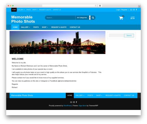 Giga Store best WordPress gallery - memorablephotoshots.com