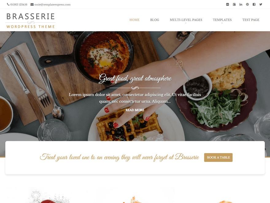 Brasserie WordPress restaurant theme