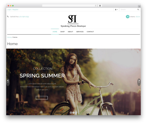 WP-Fitshop WordPress ecommerce template - speakingpiecesboutique.com