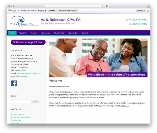 Customized business WordPress theme - williamrobinsoncpa.com