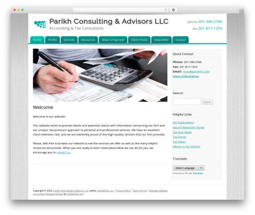 Customized company WordPress theme - parikhllc.com