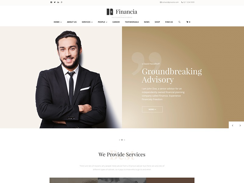 Financia child theme business WordPress theme