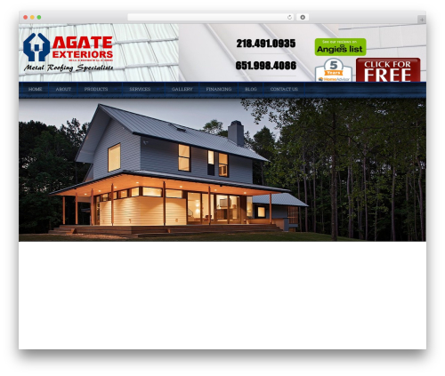 Roofing WordPress theme - agateexteriors.com