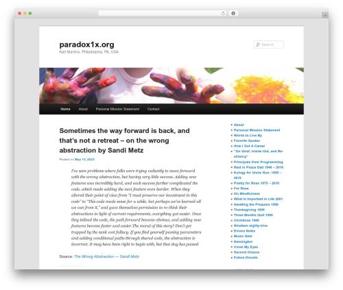 Twenty Eleven top WordPress theme - paradox1x.org