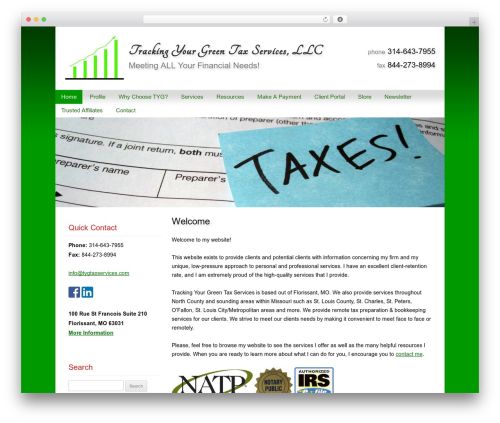 Customized business WordPress theme - tygtaxservices.com