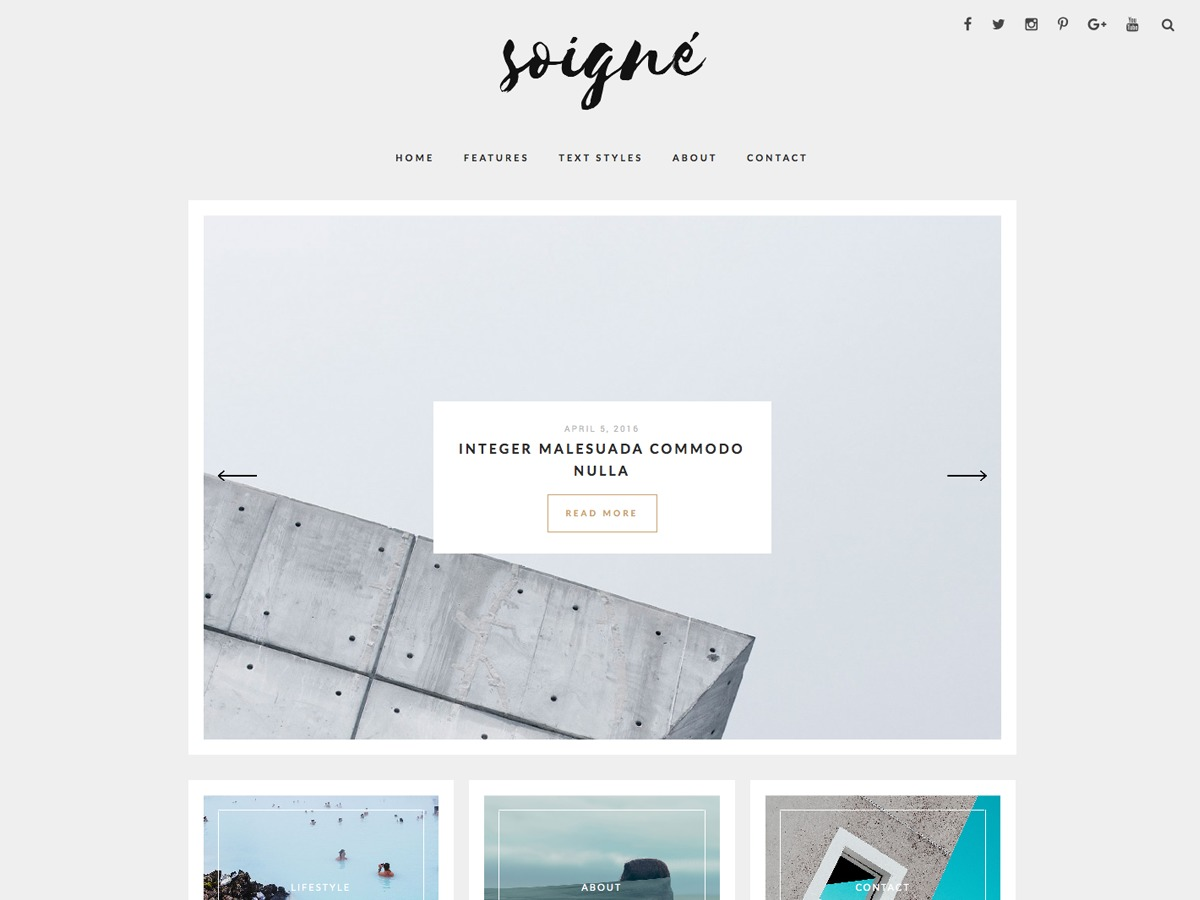 Soigne WordPress blog template