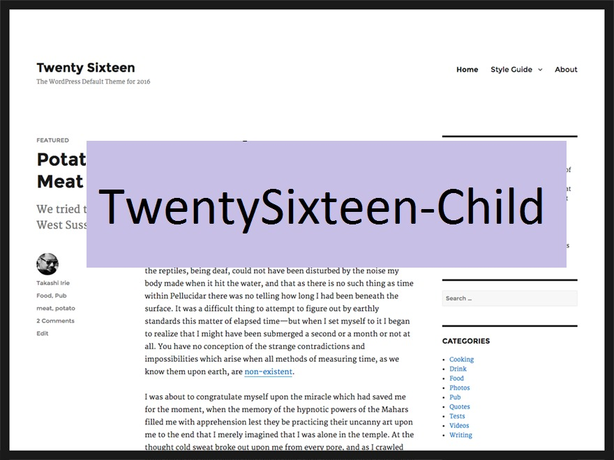 twentysixteen-child WordPress website template