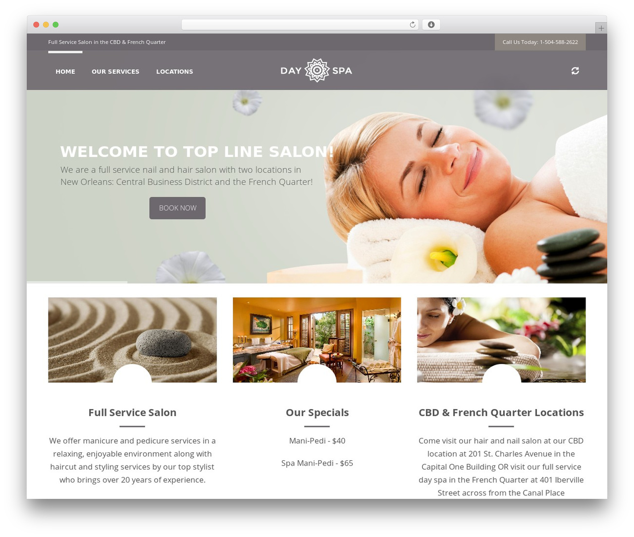 wp day spa wordpress website template by chris robinson