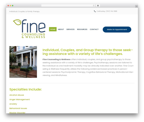 counselor theme WordPress - finecounselingandwellness.com