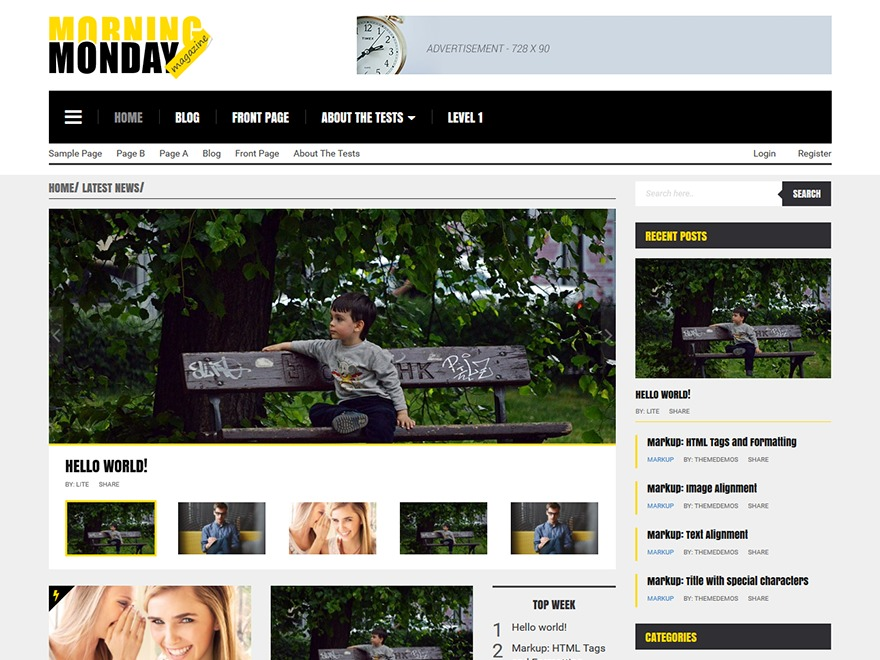 Morning Monday Lite_child WordPress magazine theme