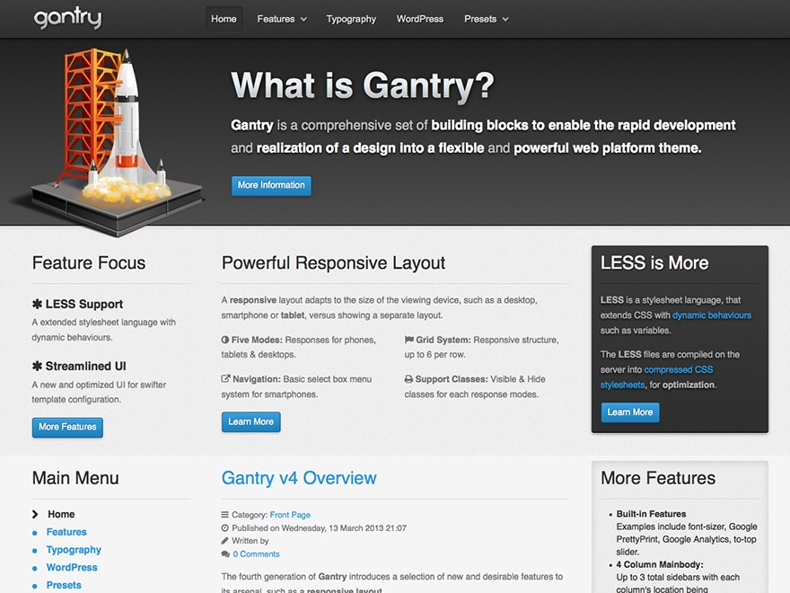 WordPress website template Gantry Theme for WordPress