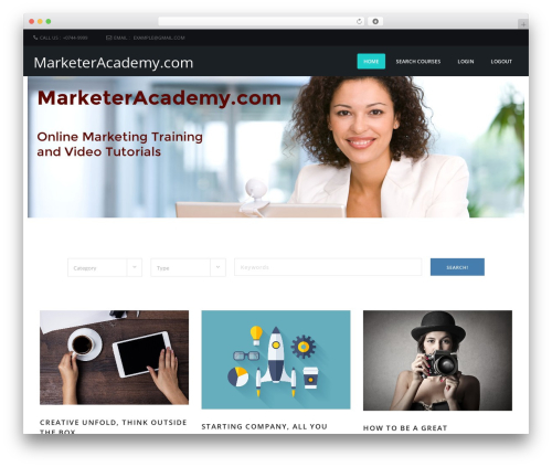 Course Theme WordPress video theme - marketeracademy.com