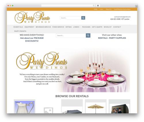 Flatsome WordPress theme - partyprontoweddings.com