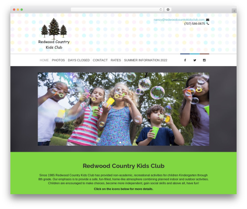 Kidslife WordPress page template - redwoodcountrykidsclub.com