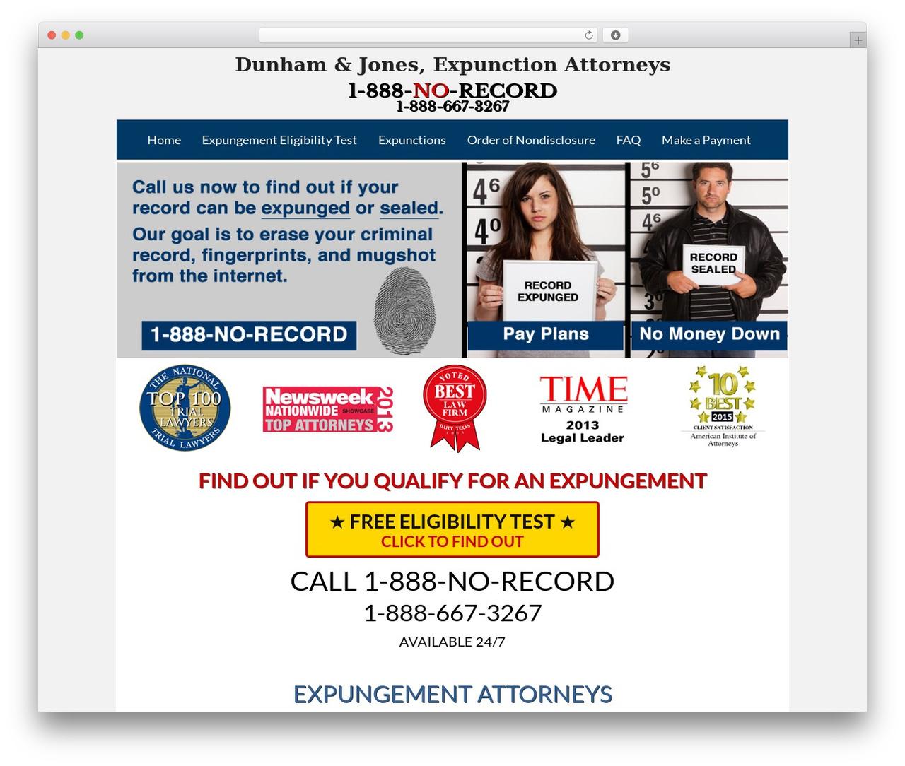 Dunham & Jones Attorneys template WordPress - norecord.com