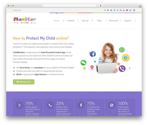 Kids World theme WordPress - mychildmonitor.com