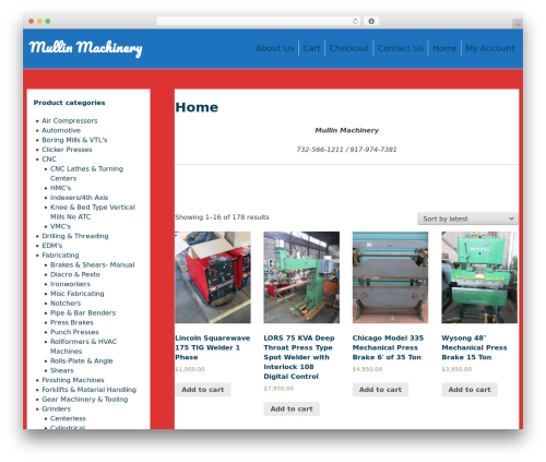 purelyShopping WordPress shop theme - mullinmachinery.com