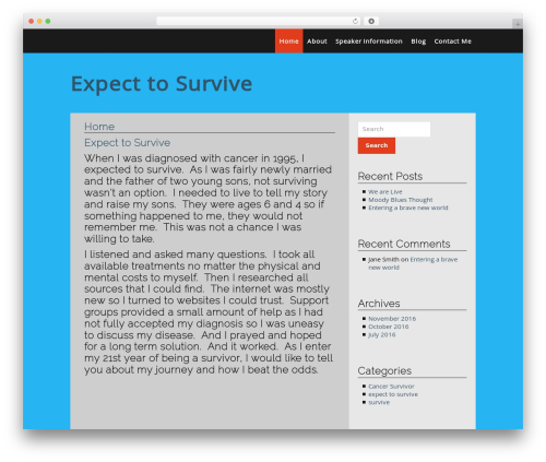 Simple and Clean free WordPress theme - expecttosurvive.com
