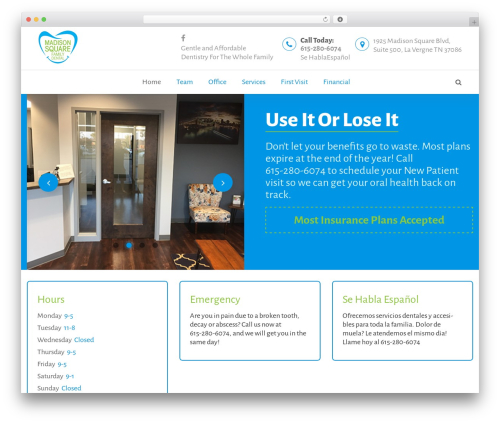 Template WordPress BeDENTIST - madisonsquarefamilydental.com