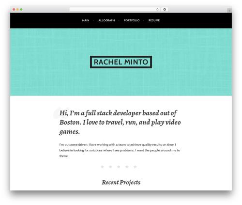 Argent personal blog WordPress theme - rachelminto.com