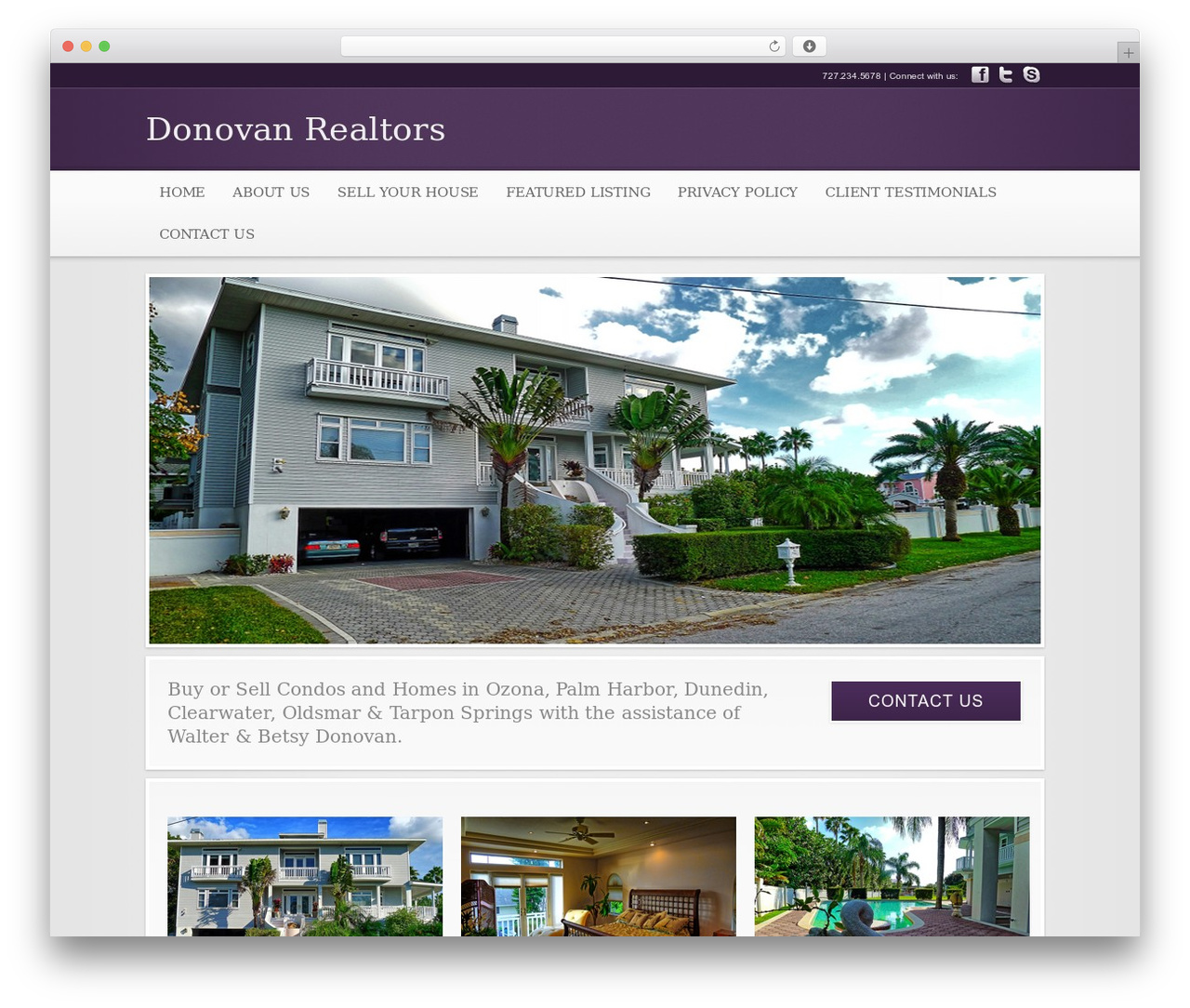 Modular top WordPress theme - donovanrealtors.com