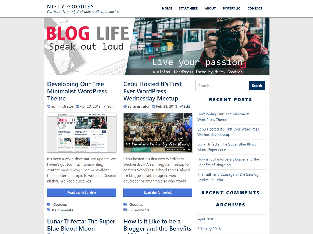 niftygoodies WordPress blog theme