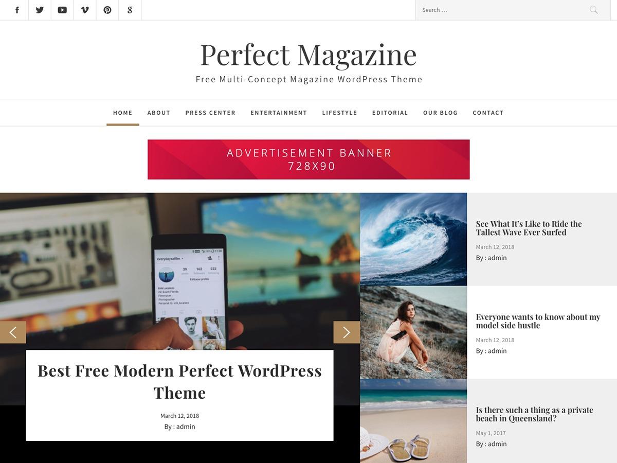 Perfect Magazine WordPress news theme