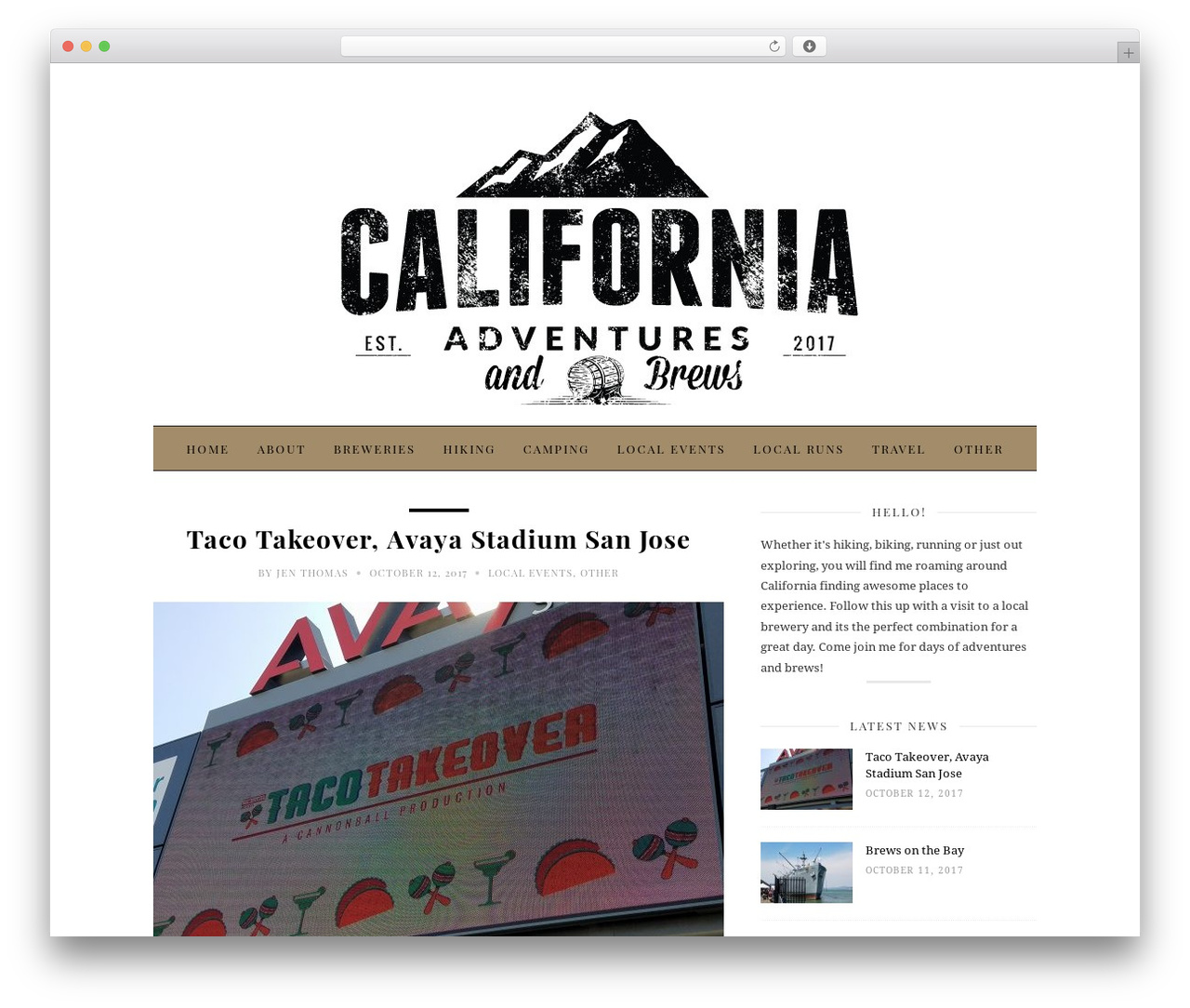 30 Day Blog Challenge WordPress template - californiaadventuresandbrews.com