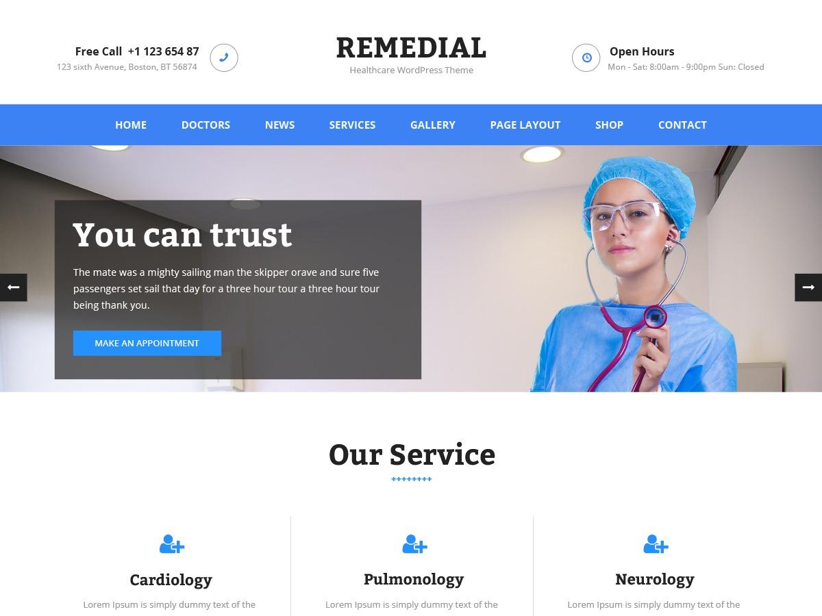 Remedial medical WordPress theme