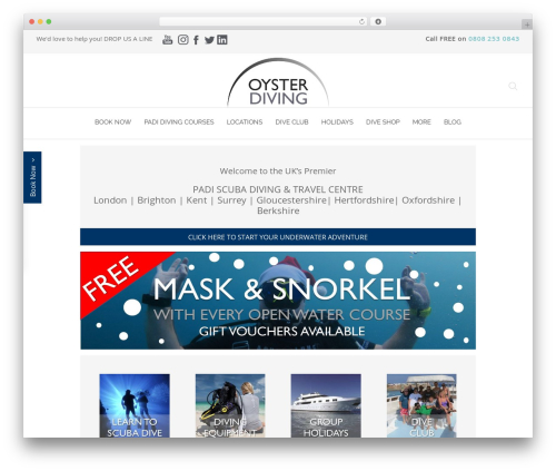 Chester WordPress page template - oysterdiving.com