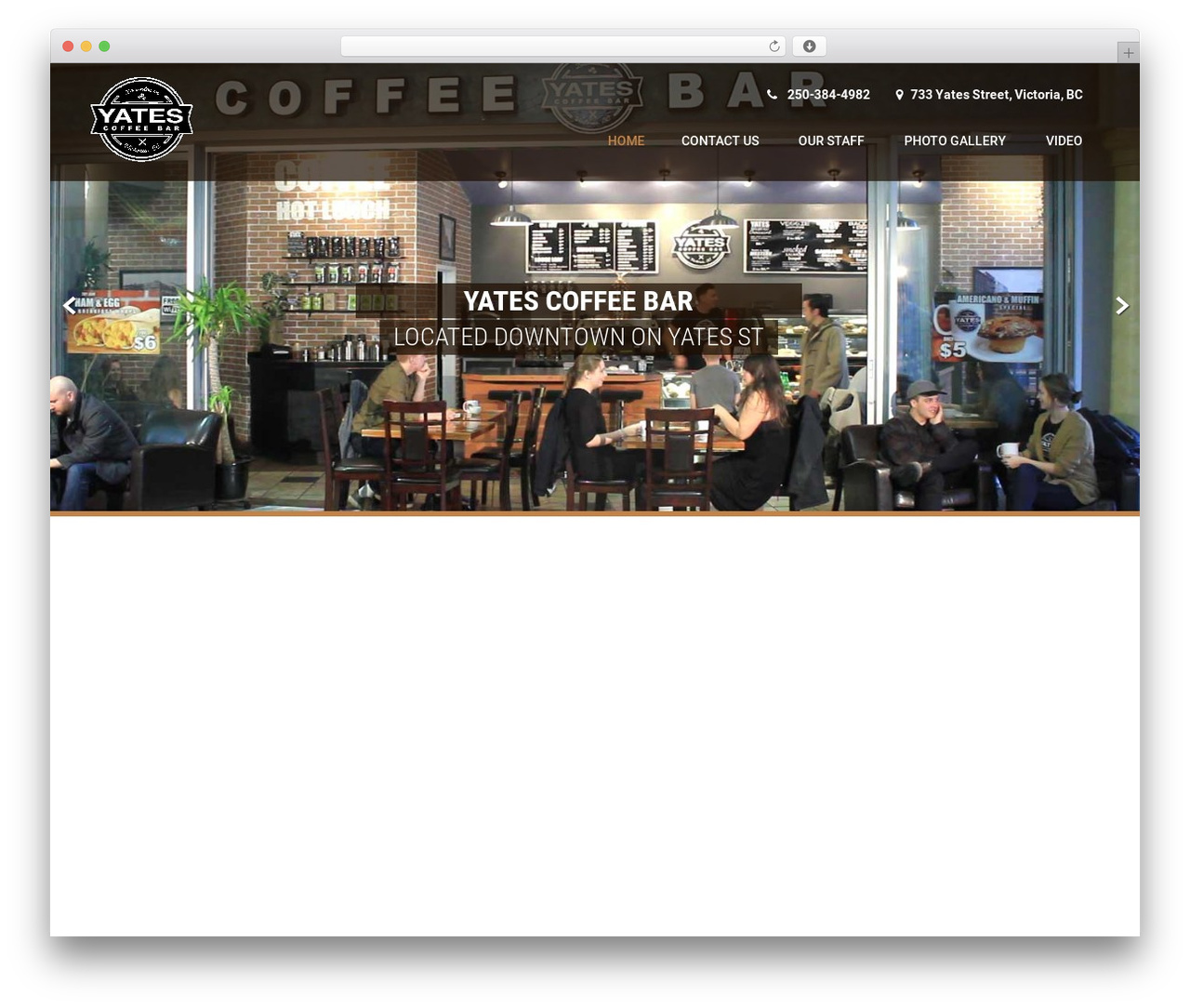 Coffee Pro WordPress template - yatescoffeebar.com