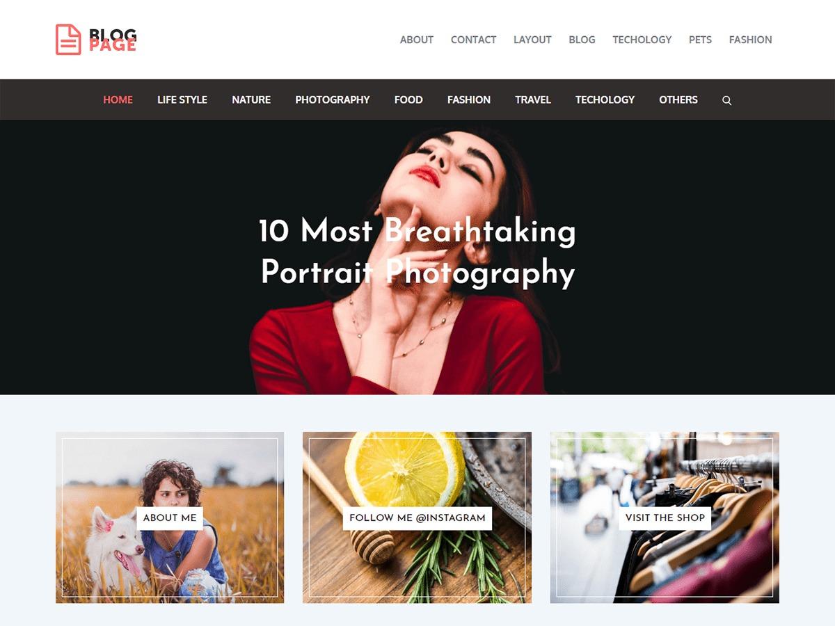 Blog Page food WordPress theme
