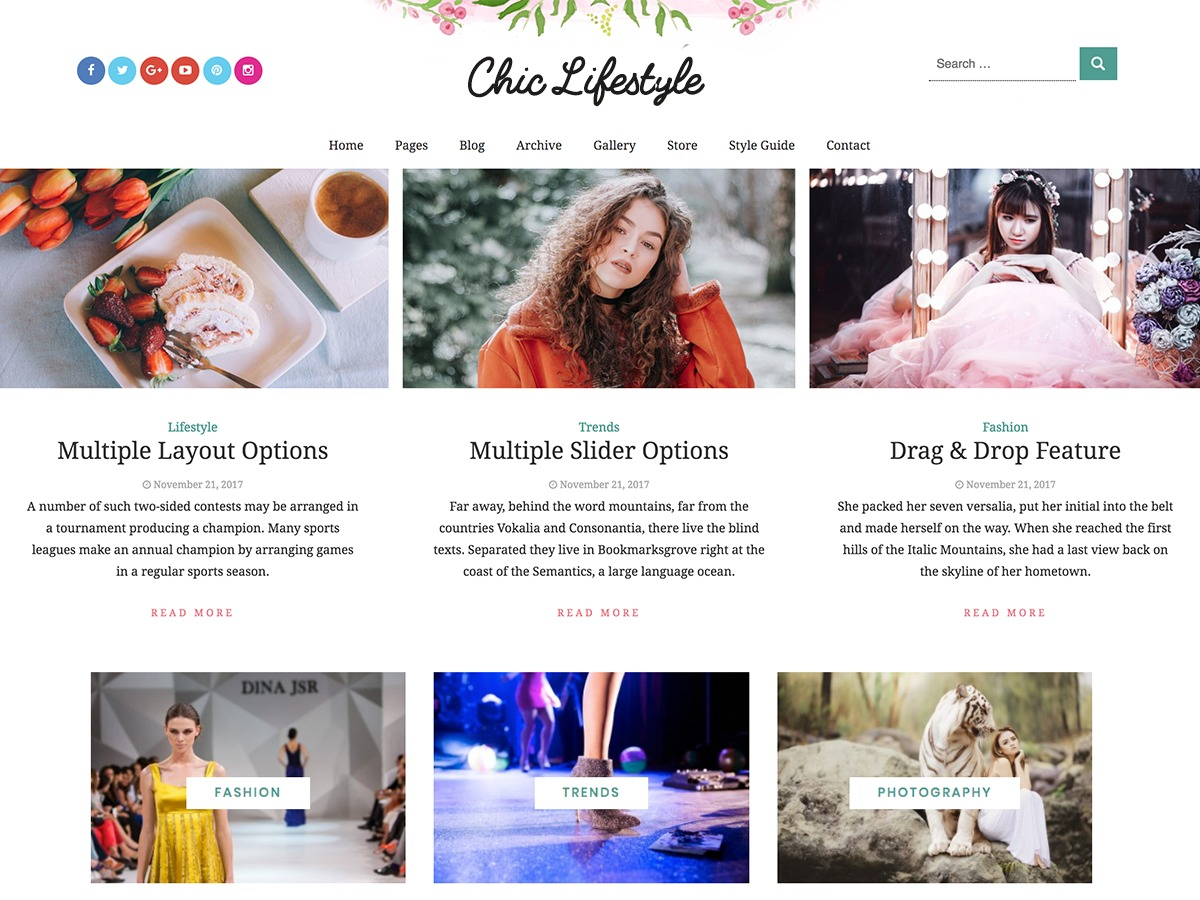 Chic Lifestyle WordPress news template