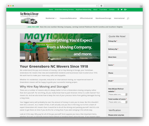 Divi WordPress template for business - raymoving.com