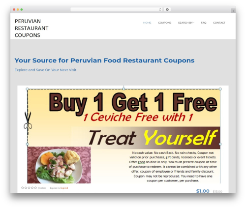 Coupon XL best restaurant WordPress theme - peruvianrestaurantcoupon.com