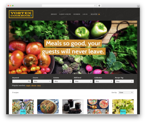 WordPress website template Recipes - vortexcookbook.com