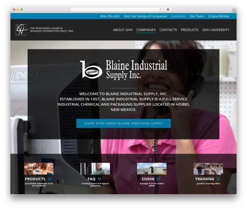 Salient top WordPress theme - blaineindustrial.com