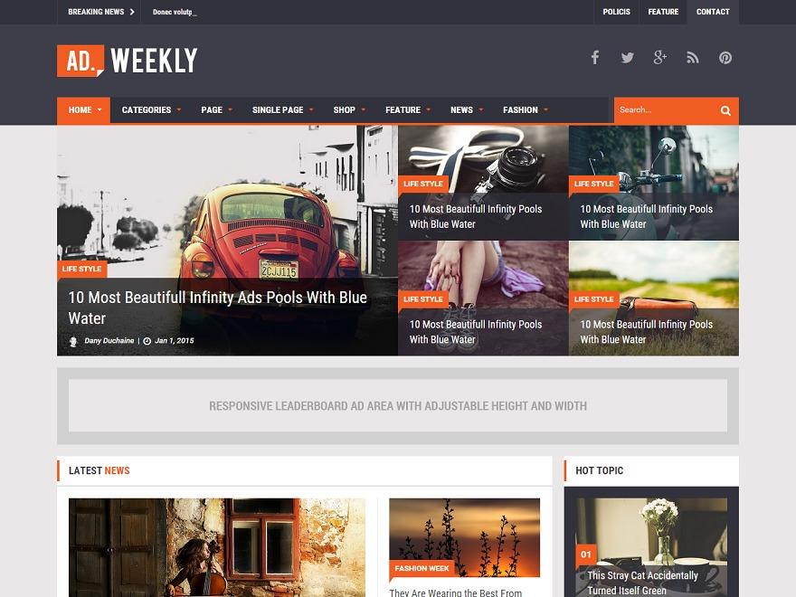 Ad Mag-Lite WordPress news theme