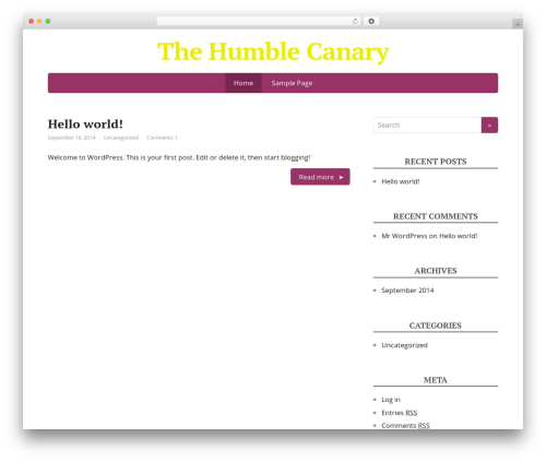 Basic WordPress theme - thehumblecanary.com