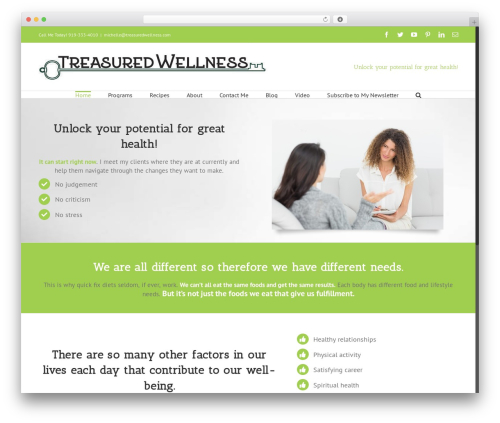 Template WordPress Avada - treasuredwellness.com