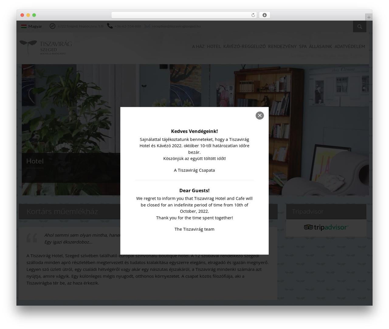 Viva Hotel best hotel WordPress theme - tiszaviragszeged.hu