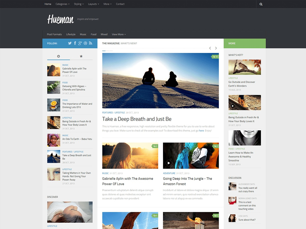 WordPress template Hueman Child 01