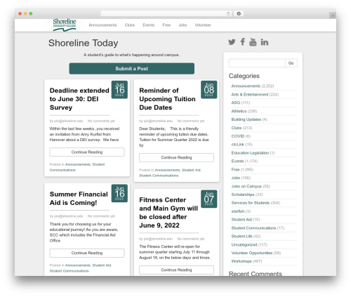 WordPress website template Social Magazine - today.shoreline.edu