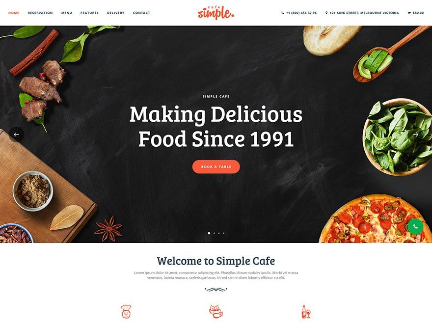 WordPress website template Simple Cafe