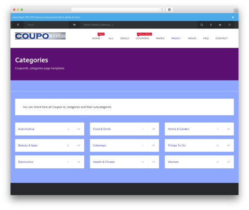 Best WordPress template Coupon XL - coupome.com